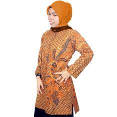 Blus Katun Lengan Panjang, Blus Muslim Batik, Blus Batik Kerja Kantor - (BKT002) Batik Alhadi