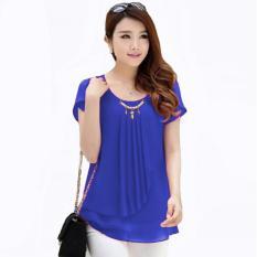 Toko Blus Wanita Korean Style Blus With Pearl Necklace Short Sleeve Terlengkap Dki Jakarta