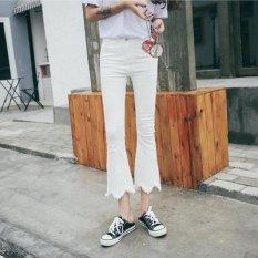 Boboky Putih Jins Gaya Korea Pertengahan Pinggang Denim Celana Gombor Celana Ketat Jeans Pelangsing untuk Wanita Celana Flare BO84E2 (Warna: seperti Gambar Pertama)-Intl