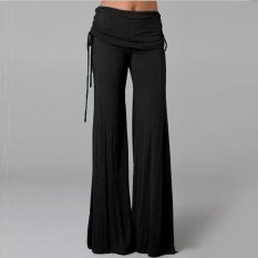 Boboky Wanita Lebar Kaki Celana Elastis Ruffled Cocok Jeans Pelangsing Celana Flare BO1BXC (Warna: Sebagai Gambar Pertama) -Intl