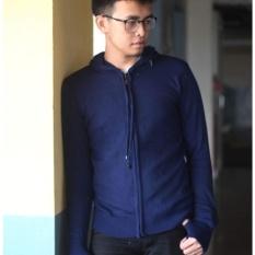 Harga Bohel Sweater Jaket Pria Hooded Rajut Halus Biru Dongker Navy Bohel