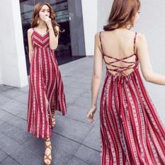 Bohemia Arak Anggur Halter Renda Rok Gaun (Gambar Warna) baju wanita dress wanita Gaun wanita