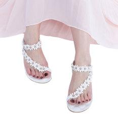 Beli Bohemia Elastis Band Bunga Dekorasi Flat Flip Flop Sandal Putih Intl Baru
