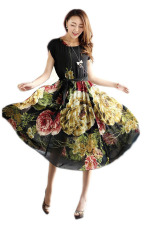 Jual Bohemia Bermotif Bunga Bunga Lengan Bang Pendek Gaun Jersey Rayon Hitam Ekspor Tiongkok Murah