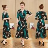 Dress Wanita Bohemian Motif Bunga Hijau Hijau Diskon Tiongkok