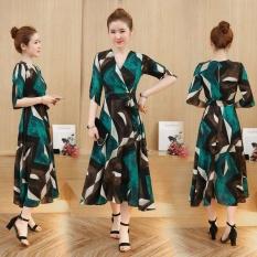 Tips Beli Dress Wanita Bohemian Motif Bunga Hijau Hijau