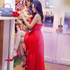 Bohemian sifon pantai gaun harness dress pantai (Merah besar) baju wanita dress wanita Gaun wanita