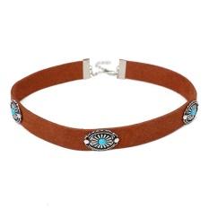 Bohemian Gaya Retro Logam Bunga Pirus Kerah Kalung Perhiasan Cokelat 38 Cm-Internasional