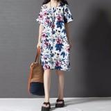 Toko Boho Cetak Bunga Panas Musim 2016 Gaya Gaun Kasual Wanita Lengan Bang Pendek Gaun Vintage Ukuran Vestido Lebih S 5Xl Termurah Tiongkok