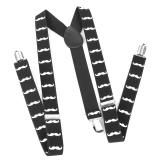Spesifikasi Bolehdeals Orang Dewasa Unisex Clip On Braces Elastis Y Back Suspender W Putih Kumis Jenggot Pola Hitam Generic Terbaru