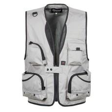 BolehDeals Multi Pocket Fishing Mesh Rompi Outdoor Hunting Travel Jaket XXXL Abu-abu Muda-