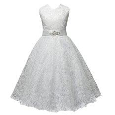 Bolehdeals Gaun Pesta Tanpa Lengan Warna Putih 160 Cm 9-10Y (Intl)-Intl