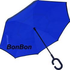 BonBon Payung Terbalik Best Quality dengan Tombol Merah Motif Polos - biru tua
