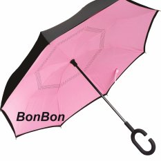 BonBon Payung Terbalik Best Quality dengan Tombol Merah Motif Polos - Pink Muda