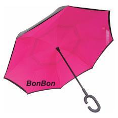 BonBon Payung Terbalik Best Quality dengan Tombol Merah Motif Polos - Pink tua