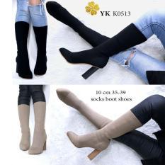 Boot Sockers Shoes 10Cm Boot Kaos Heels Gemuk Bisa Di Tarik Sampai Di Betis