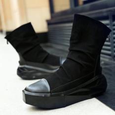 Boots Militer Takut Akan Tuhan 1:1 Justin Bieber Kabut Boots Sepatu Kualitas Kulit Asli Sepatu Tinggi Pria Kasual BOTAS (hitam) -Internasional