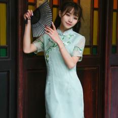 Bordir Oriental Gaya Meihua Talian Simpul Tiongkok Gelang Rajutan Peningkatan Cheongsam (Tiffany Biru)