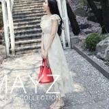 Diskon Gaun Wanita Bahu Terbuka Bordiran Versi Korea Putih Putih Branded
