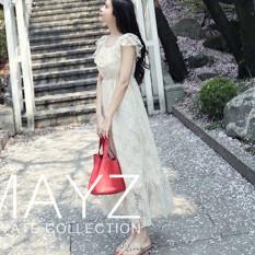 Jual Gaun Wanita Bahu Terbuka Bordiran Versi Korea Putih Putih Oem Original