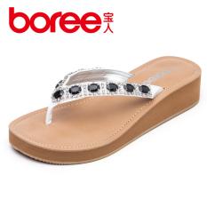 Boree sandal perempuan musim panas air bata wanita Anti Selip Pantai sandal Sol Tebal hak wedges hak sedang jepit kaki flip flop sandal