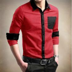 Katalog Bosbaju Kemeja Pria 2Tone Merah Hitam Terbaru