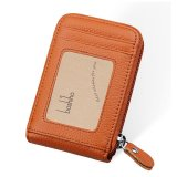 Boshiho Rfid Blocking Card Holder Genuine Leather Kartu Kredit Case Organizer Compact Dompet Zip Di Sekitar Accordion Style Brown Intl Boshiho Diskon