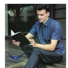 Celana Panjang Jeans Pria Model Reguler Standard - Body Boss Original - Denim Jeans Stretch Melar - Warna Hitam dan Biru