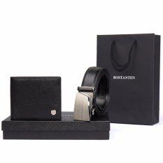 Bostanten Mens Genuine Leather Belts And Genuine Cowhide Leather Bifold Wallet Gift Box Black - Intl By Bostanten Official Store.