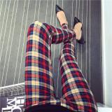 Promo Celana Capri Wanita Motif Cetak Kotak Kotak Coretan Kartun Warna Warni Trendi Khaki Kotak Kotak