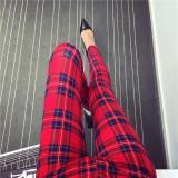 Jual Celana Capri Wanita Motif Cetak Kotak Kotak Coretan Kartun Warna Warni Trendi Kotak Kotak Merah Lengkap
