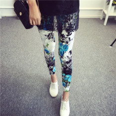Jual Celana Capri Wanita Motif Cetak Kotak Kotak Coretan Kartun Warna Warni Trendi Lan Bunga Baju Wanita Celana Wanita