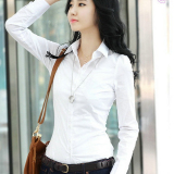 Review Bottons Front Patch Pocket Women S Long Sleeves Slim White Blouse Intl Tiongkok