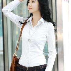 Jual Bottons Front Patch Pocket Women S Long Sleeves Slim White Blouse Intl Murah