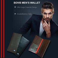 Bovis Dompet Pria Long Fashion Wallet 95DF 8 Inch Leather - Black