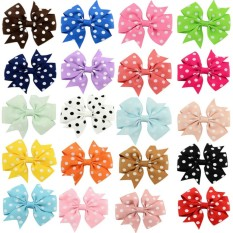 Bow Hair Clips Ribbon Printing Dot Headwear for Kids Hairccessories