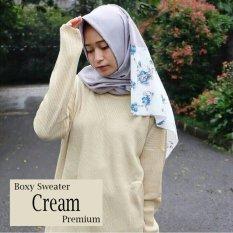 Jual Boxy Sweater Premium Cream Jawa Timur Murah