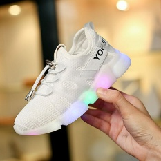 Anak Laki-laki dan Perempuan Fashion LED Colorful Luminescence Slip-ons Sepatu Bernapas Ringan Kets (Putih)-Intl