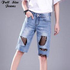 Pacar Plus Ukuran Hollow Out Fishnet Lutut Panjang Bermuda Ditambal Mesh Musim Panas Besar Lubang Longgar Lurus Pengemis Denim Jeans 4XL -Intl