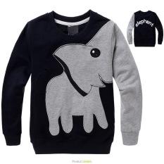 'Boys'' 3-12 Tahun 85-145 Cm Tubuh Tinggi Kartun Elephant Soft Tipis Katun Hoodie Sweater (warna: Navy Blue)-Intl Mikanoni'