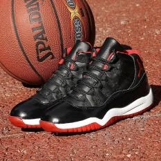 Anak Laki-laki Basket Olahraga Sepatu Wear Tahan Nyaman Kasual Sneakers-Hitam-Intl