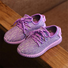 Mahasiswa Anak Itu Lukisan Gadis Kasual Olahraga Atletik Her Kets Sepatu Rajut I105 Ungu