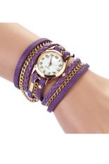 Beli Dikepang Berliku Rivet Leather Strap Bracelet Wrist Watch Ungu Jam Tangan Oem Online