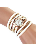 Beli Braided Winding Rivet Leather Strap Bracelet Wrist Watch White Jam Tangan Baru