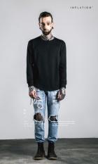 Merek Katun Bambu O-leher Streetwear Penuh Lengan Panjang T-shirt Pria Warna Solid Hip Hop Panjang Biasa Kaos-International