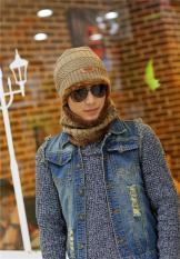 Brand Knit Pria Winter Hat Caps Bonnet Musim Dingin Topi untuk Beanie Hangat Baggy Knitted Hat dan Scarf (khaki) -Intl