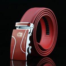 Ongkos Kirim Merek Pria Otomatis Belt Leather Belt Buckle Sabuk Kulit Terbuat Setengah Baya Cattle Merah Intl Di Tiongkok