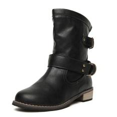 Merek PU Leather Motorcycle Boots Sepatu Biker Wanita Gothic Punk Combot Booties Buckle Strap Platform Ankle Boots Wanita (HITAM) -Intl