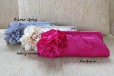Jual Branded Outlet Jakarta Imported Satin Clutch Evening Bag Pink Branded Outlet Jakarta Asli