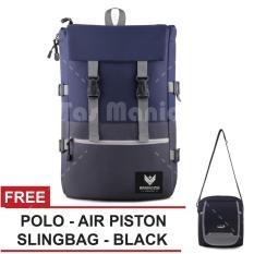 Tas Ransel Braun Fox - Ace 0.01 Dailypack Outdoor Tas Laptop Backpack - Blue + Raincover + FREE Tas Selempang Polo USA - Air Piston Slingbag - Black Tas Pria Tas Kerja Tas Messenger Tas Slempang Tas Fashion Pria